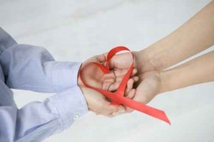 Red ribbon in the shape of heart