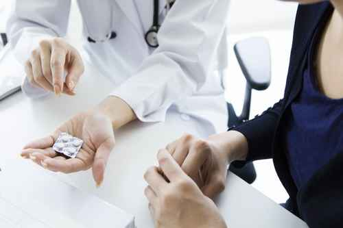 Patients get prescription from doctor
