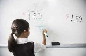 Girl Practicing Long Division