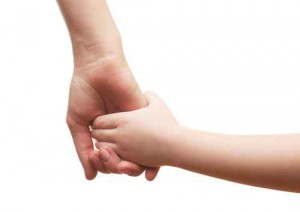 Child and mother hands isolated on white