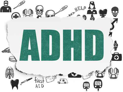 Healthcare concept: ADHD on Torn Paper background
